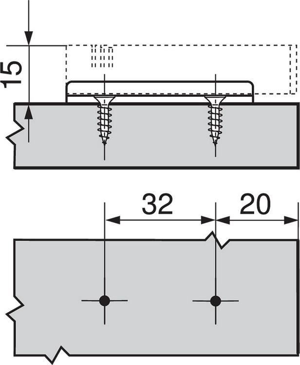 Blum 970.5201 0mm Inline Adapter Plate, :: Image 100