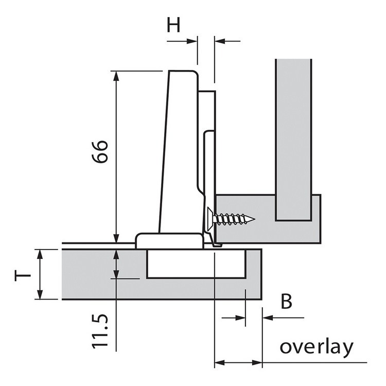 Blum 75M1580 107 Degree CLIP Hinge, Self-Close, Full Overlay, Dowel :: Image 80