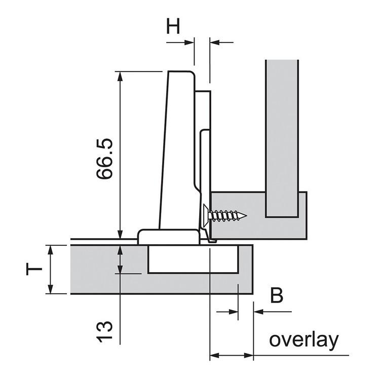Blum 72T3580.TL 110 Degree Plus CLIP Top Hinge, Free Swing, Full Overlay, Dowel :: Image 130