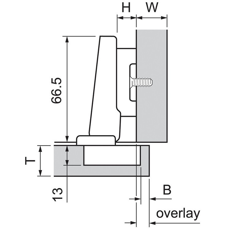 Blum 73B3580 110 Degree Plus BLUMOTION Hinge, Soft-Close, Full Overlay, Dowel :: Image 10