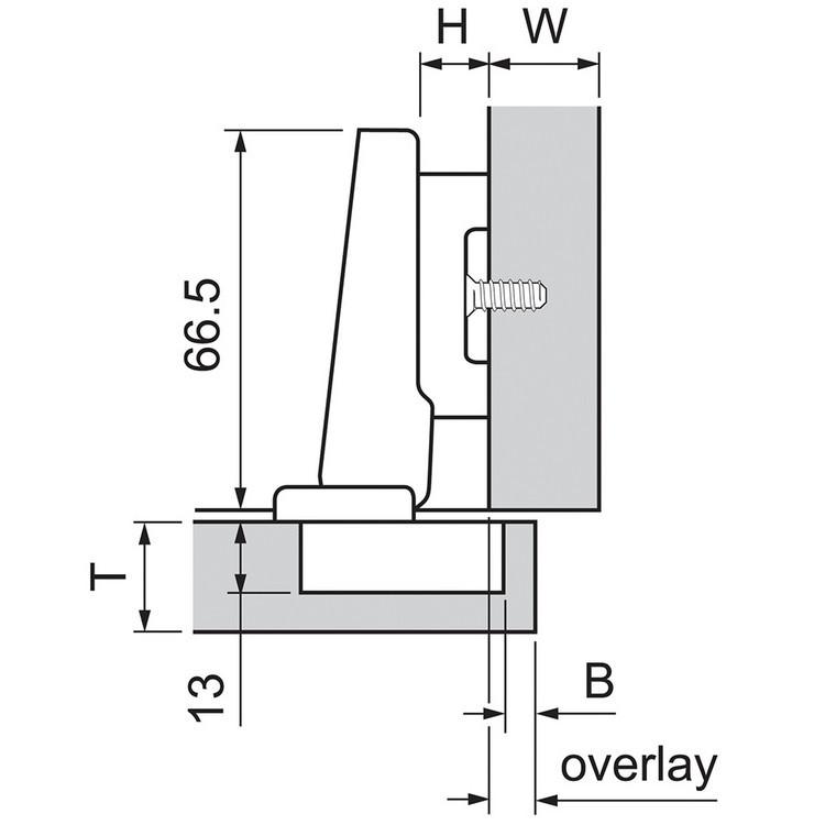 Blum 73B3550 110 Degree Plus BLUMOTION Hinge, Soft-Close, Full Overlay, Screw-on :: Image 110