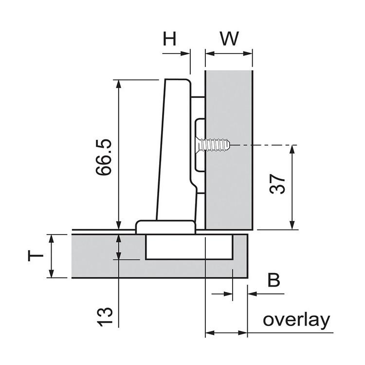 Blum 72T3580.TL 110 Degree Plus CLIP Top Hinge, Free Swing, Full Overlay, Dowel :: Image 120