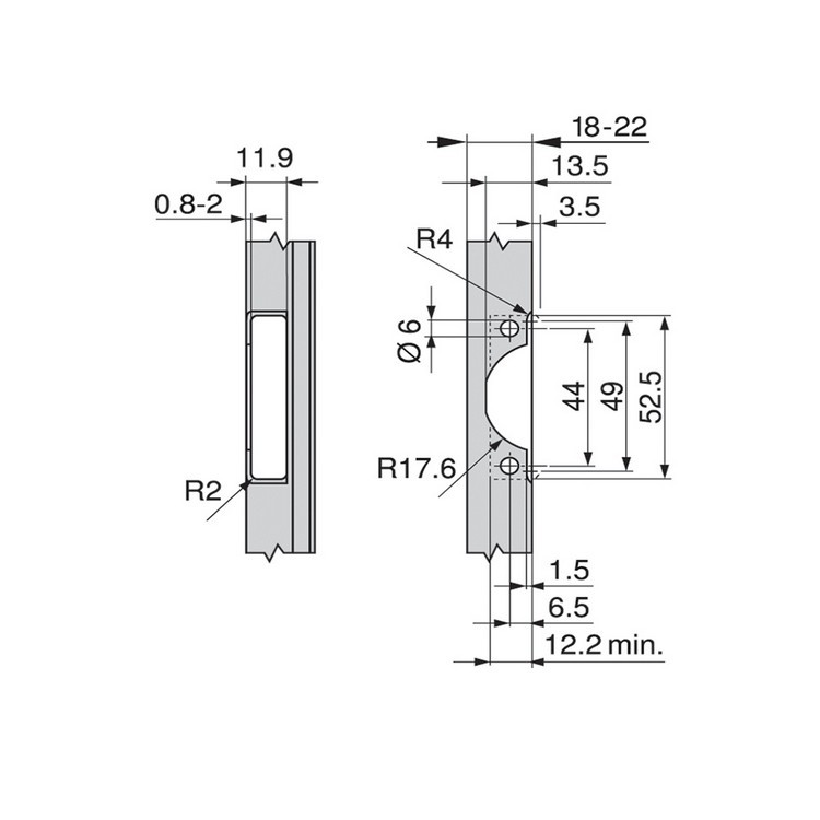 Blum 71B950A 95 Degree CLIP Top BLUMOTION Narrow Aluminum Door Hinge, Soft-Close, Full Overlay, Screw-on :: Image 160