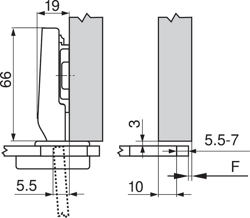 Blum 75T4100 94 Degree CLIP Top Glass Door Hinge, Self Close, Full Overlay,  Screw On