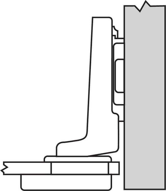 Blum 75T4300 94 Degree CLIP Top Glass Door Hinge, Self-Close, Inset, Screw-on :: Image 150