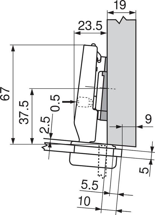 Blum 75T4200 94 Degree CLIP Top Glass Door Hinge, Self-Close, Half Overlay, Screw-on :: Image 160