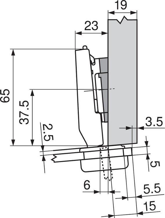 Blum 75T4200 94 Degree CLIP Top Glass Door Hinge, Self-Close, Half Overlay, Screw-on :: Image 180