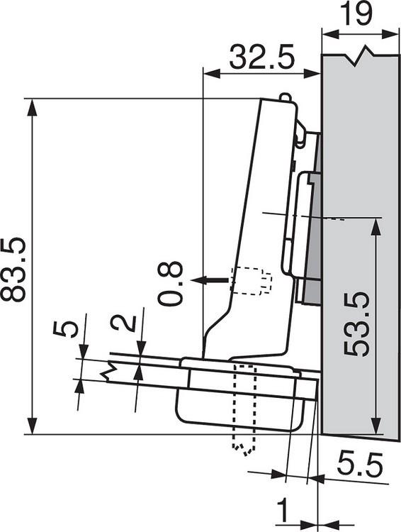Blum 75T4200 94 Degree CLIP Top Glass Door Hinge, Self-Close, Half Overlay, Screw-on :: Image 170