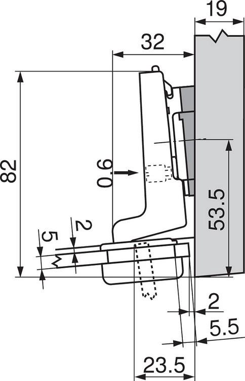 Blum 75T4200 94 Degree CLIP Top Glass Door Hinge, Self-Close, Half Overlay, Screw-on :: Image 60