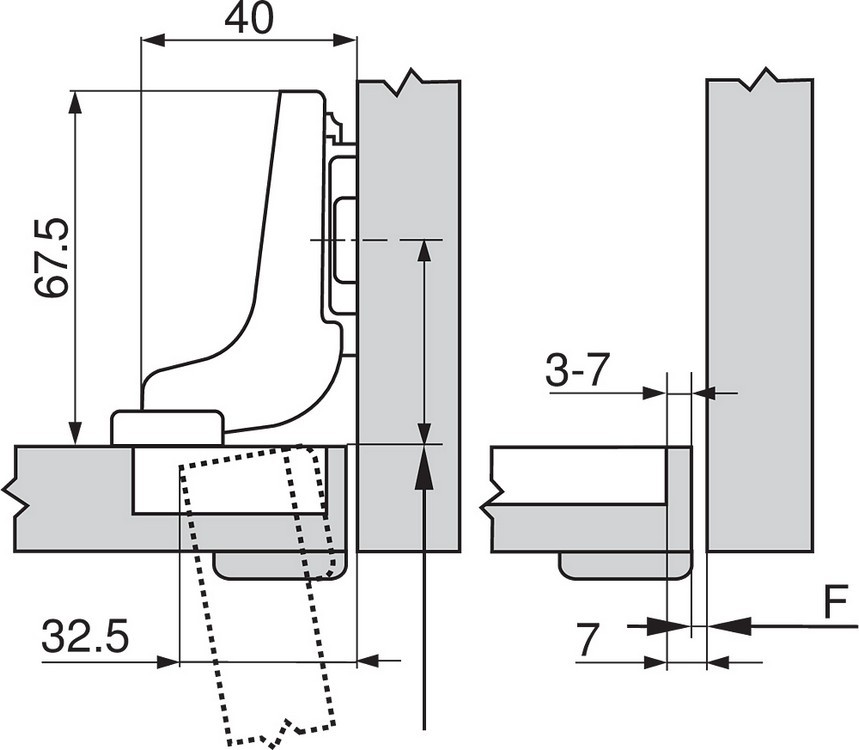 Blum 71T9750 95 Degree CLIP Top Hinge for Thick Door, Self-Close, Inset, Screw-on :: Image 160