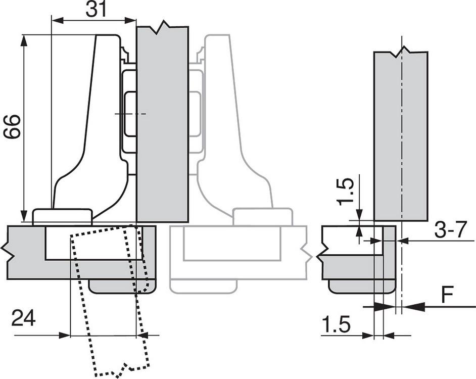 Blum 71T9690B 95 Degree CLIP Top Hinge, Self-Close, Half Overlay, Inserta :: Image 90