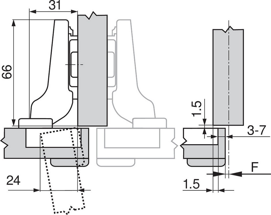 Blum 71T9690B 95 Degree CLIP Top Hinge, Self-Close, Half Overlay, Inserta :: Image 270