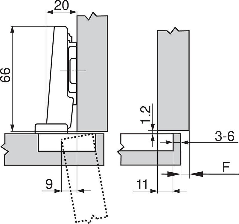 Blum 71M2550 100 Degree CLIP Hinge, Self-Close, Full Overlay, Screw-on :: Image 140
