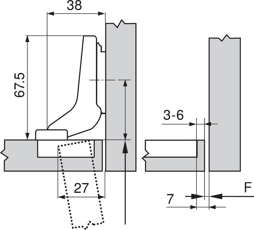 Blum 70M2780.TL 100 Degree CLIP Hinge, Free Swing, Inset, Dowel :: Image 30