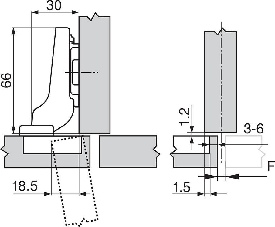 Blum 71M2690B 100 Degree CLIP Hinge, Self-Close, Half Overlay, Inserta :: Image 50