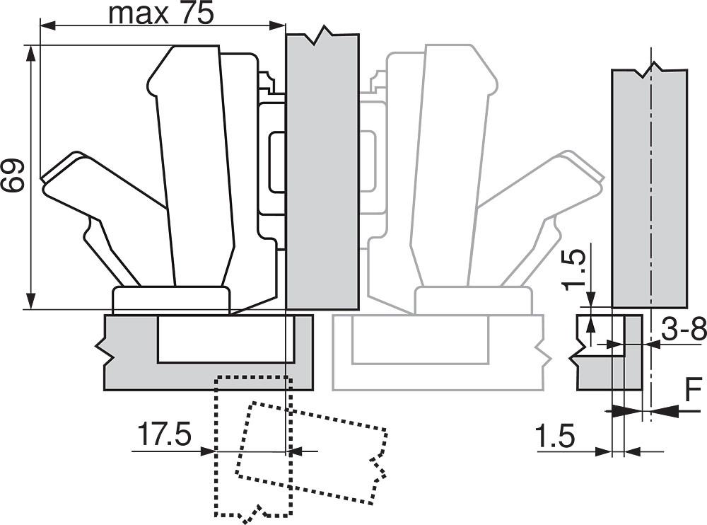 Blum 71T6640B 170 Degree CLIP Top Hinge, Self-Close, Half Overlay, Inserta :: Image 150