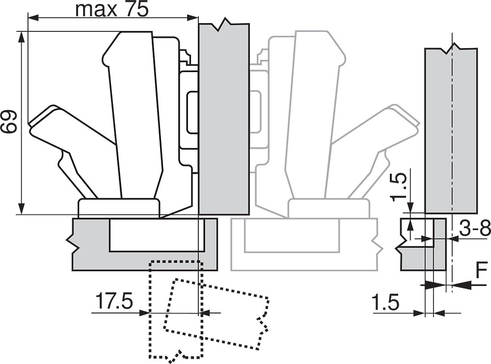 Blum 71T6640B 170 Degree CLIP Top Hinge, Self-Close, Half Overlay, Inserta :: Image 20