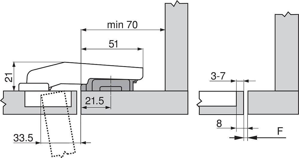Blum 79T9550 95 Degree CLIP Top Blind Corner Hinge, Self-Close, Inset, Screw-on :: Image 180