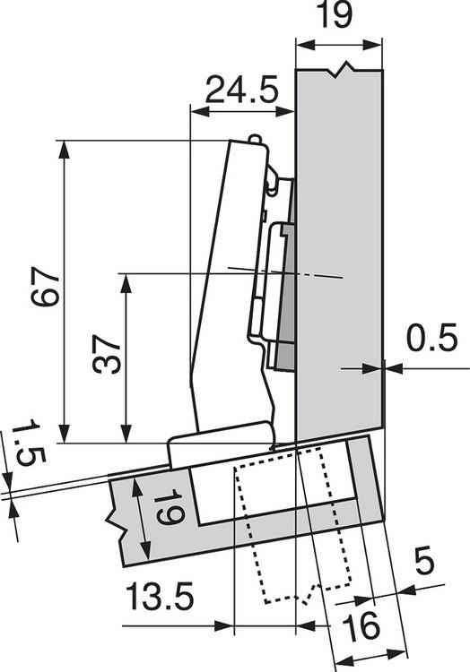 Blum 79A9494BT 95 Degree CLIP Top Hinge, Self-Close, +15 Degree Diagonal, Inserta :: Image 180