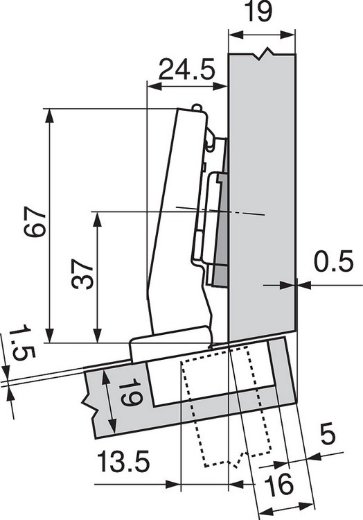 Blum 79A9494BT 95 Degree CLIP Top Hinge, Self-Close, +15 Degree Diagonal, Inserta :: Image 30