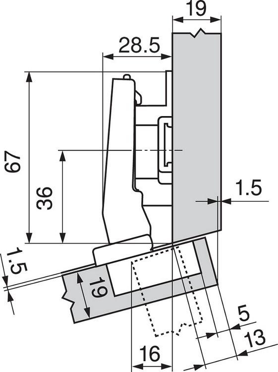 Blum 79A9494BT 95 Degree CLIP Top Hinge, Self-Close, +15 Degree Diagonal, Inserta :: Image 200