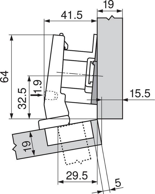 Blum 79A9494BT 95 Degree CLIP Top Hinge, Self-Close, +15 Degree Diagonal, Inserta :: Image 170