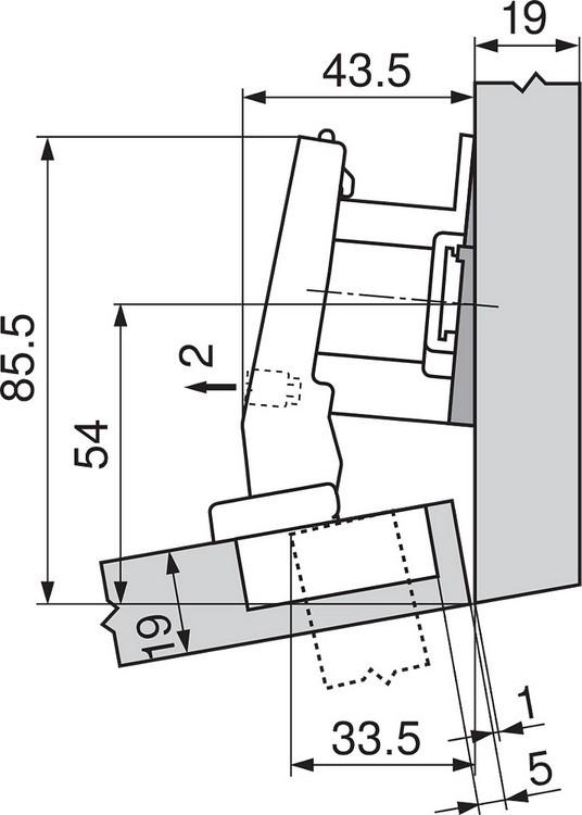 Blum 79A9494BT 95 Degree CLIP Top Hinge, Self-Close, +15 Degree Diagonal, Inserta :: Image 160