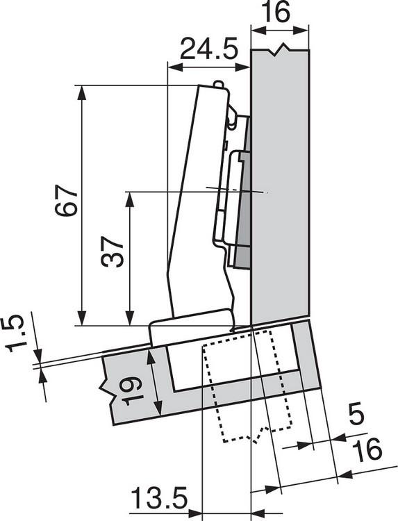 Blum 79A9494BT 95 Degree CLIP Top Hinge, Self-Close, +15 Degree Diagonal, Inserta :: Image 190