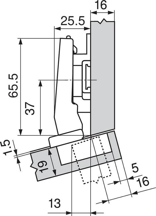 Blum 79A9494BT 95 Degree CLIP Top Hinge, Self-Close, +15 Degree Diagonal, Inserta :: Image 60