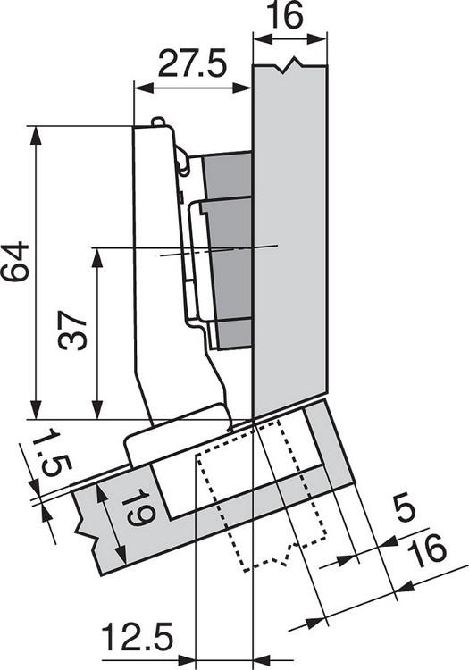 Blum 79A9494BT 95 Degree CLIP Top Hinge, Self-Close, +15 Degree Diagonal, Inserta :: Image 220