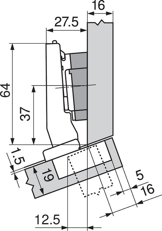 Blum 79A9494BT 95 Degree CLIP Top Hinge, Self-Close, +15 Degree Diagonal, Inserta :: Image 70
