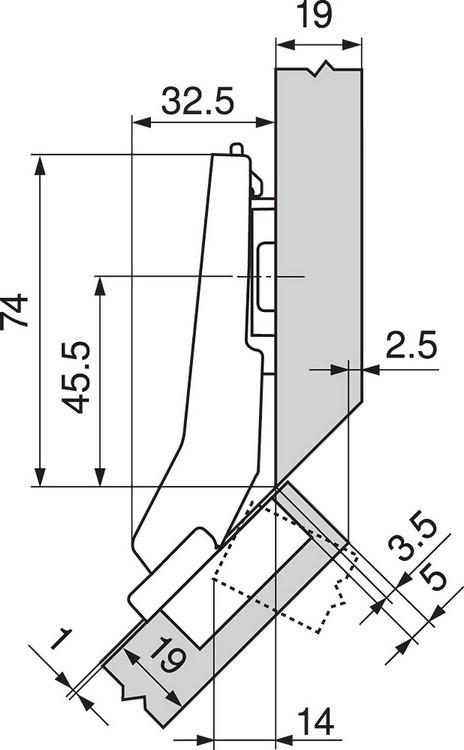 Blum 79T5590B +45 II 110 Degree CLIP Top Hinge, Self-Close, +45 Degree Diagonal, Full Overlay, Inserta :: Image 190