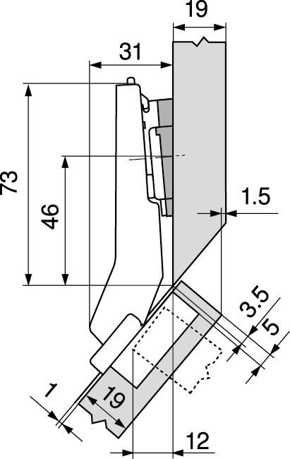 Blum 79T5590B +45 II 110 Degree CLIP Top Hinge, Self-Close, +45 Degree Diagonal, Full Overlay, Inserta :: Image 200