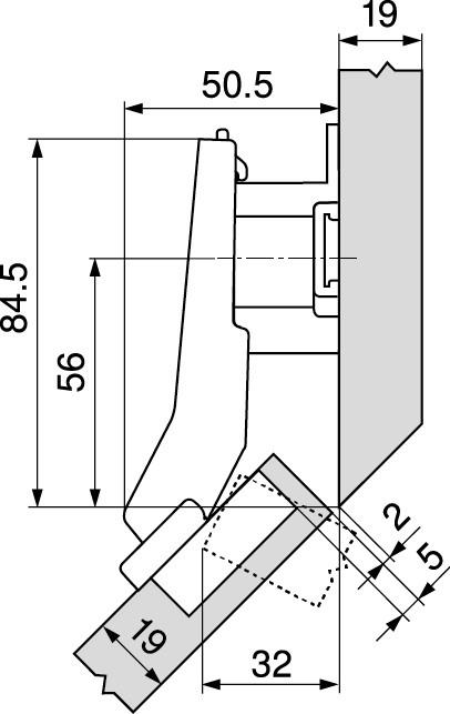 Blum 79T5590B +45 II 110 Degree CLIP Top Hinge, Self-Close, +45 Degree Diagonal, Full Overlay, Inserta :: Image 180