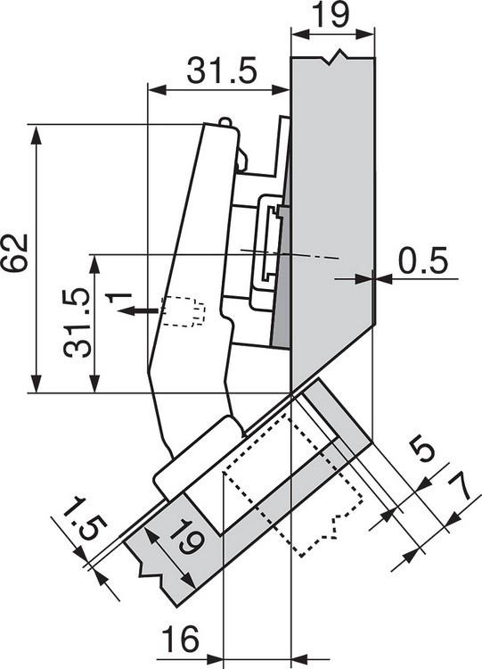 Blum 79A9498BT 95 Degree CLIP Top Hinge, Self-Close, +45 Degree III Diagonal, Inserta :: Image 30