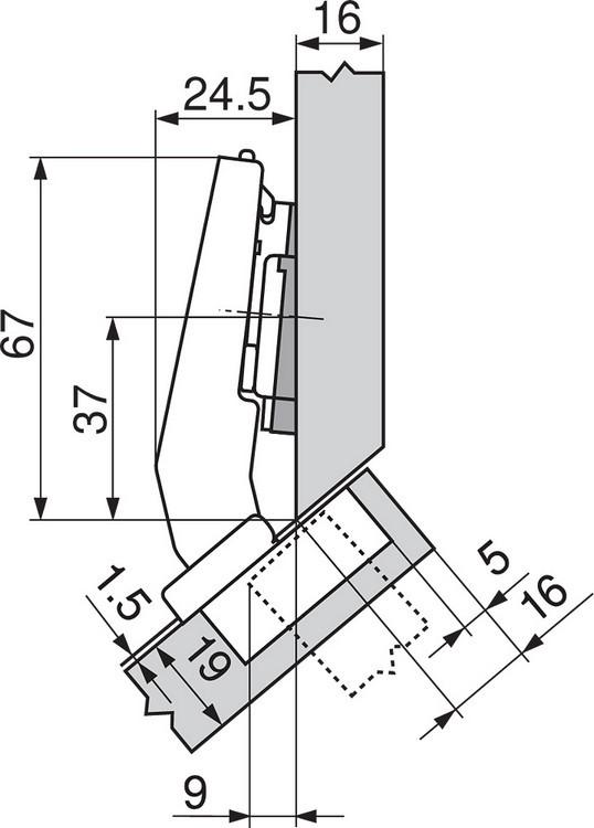 Blum 79A9498BT 95 Degree CLIP Top Hinge, Self-Close, +45 Degree III Diagonal, Inserta :: Image 40