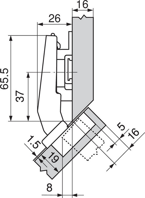 Blum 79A9498BT 95 Degree CLIP Top Hinge, Self-Close, +45 Degree III Diagonal, Inserta :: Image 140