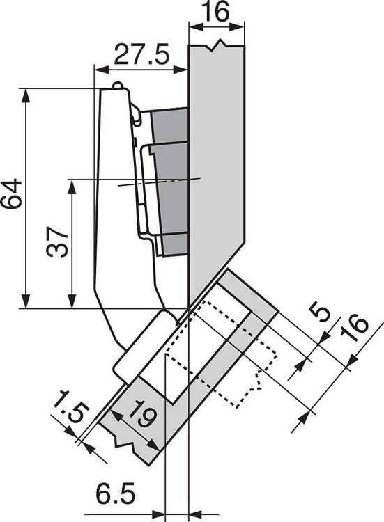 Blum 79A9498BT 95 Degree CLIP Top Hinge, Self-Close, +45 Degree III Diagonal, Inserta :: Image 150