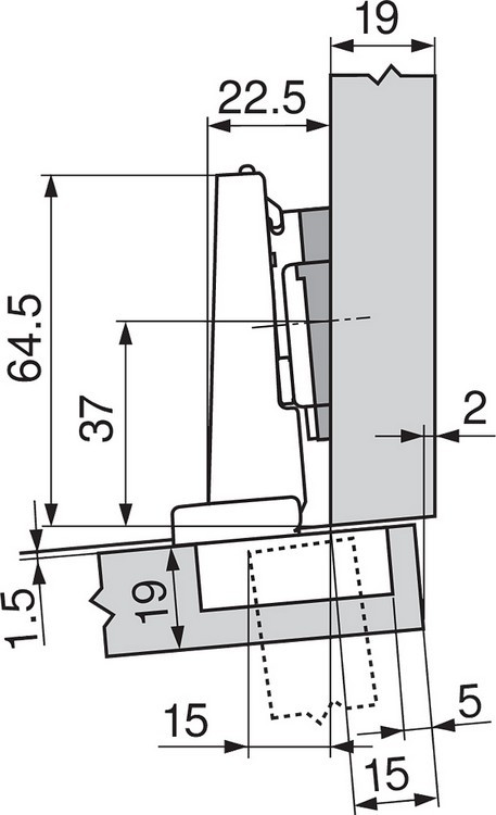 Blum 71T9650 95 Degree CLIP Top Hinge for Thick Door, Self-Close, Half Overlay, Screw-on :: Image 220