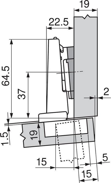 Blum 71T9690B 95 Degree CLIP Top Hinge, Self-Close, Half Overlay, Inserta :: Image 240