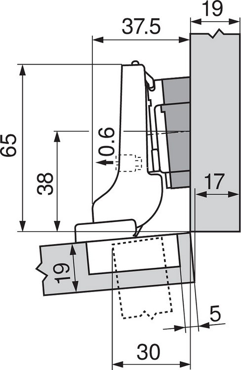 Blum 71T9750 95 Degree CLIP Top Hinge for Thick Door, Self-Close, Inset, Screw-on :: Image 210