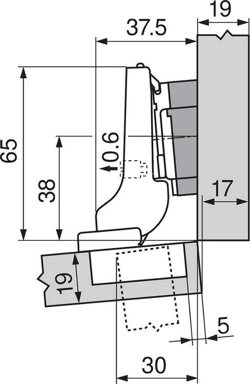 Blum 71T9790B 95 Degree CLIP Top Hinge, Self-Close, Inset, Inserta :: Image 240