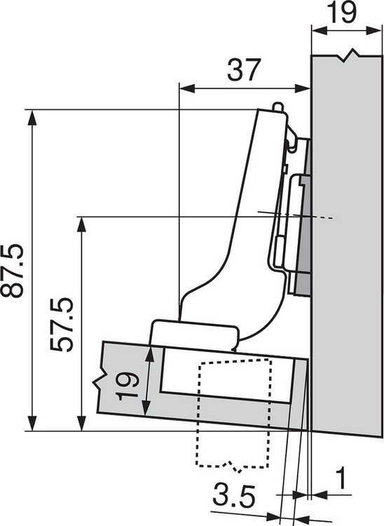 Blum 71T9650 95 Degree CLIP Top Hinge for Thick Door, Self-Close, Half Overlay, Screw-on :: Image 180