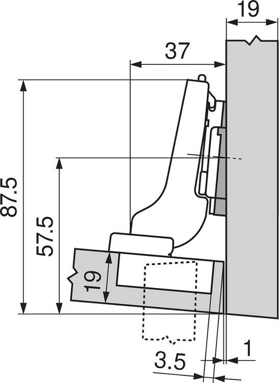 Blum 71T9690B 95 Degree CLIP Top Hinge, Self-Close, Half Overlay, Inserta :: Image 200