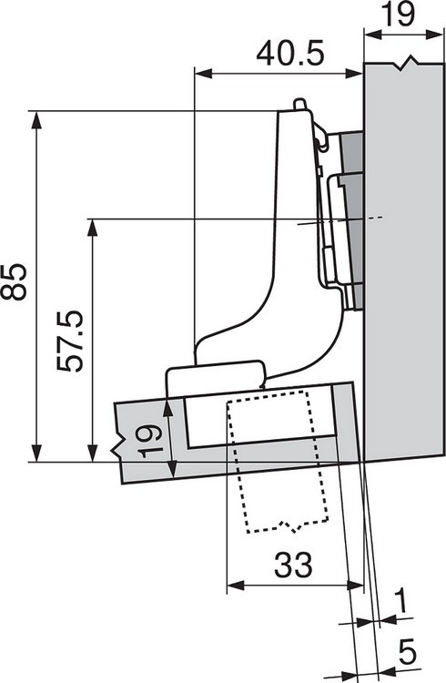Blum 71T9650 95 Degree CLIP Top Hinge for Thick Door, Self-Close, Half Overlay, Screw-on :: Image 200