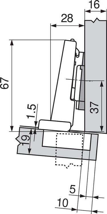 Blum 71T9650 95 Degree CLIP Top Hinge for Thick Door, Self-Close, Half Overlay, Screw-on :: Image 190