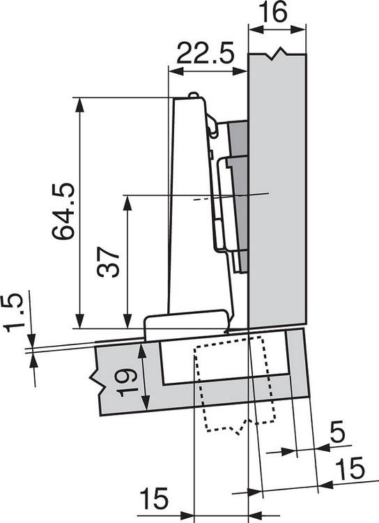 Blum 71T9650 95 Degree CLIP Top Hinge for Thick Door, Self-Close, Half Overlay, Screw-on :: Image 230