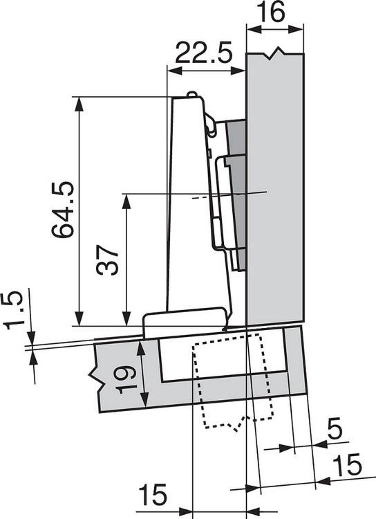 Blum 71T9690B 95 Degree CLIP Top Hinge, Self-Close, Half Overlay, Inserta :: Image 250