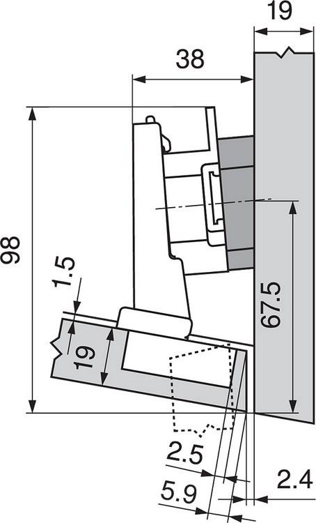 Blum 79A5493BT 110 Degree CLIP Top Hinge, Self-Close, -15 Degree Diagonal, Inserta :: Image 60