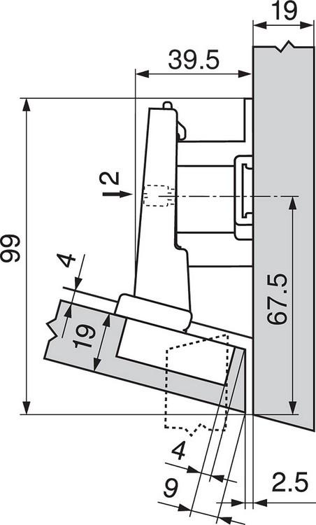Blum 79A5493BT 110 Degree CLIP Top Hinge, Self-Close, -15 Degree Diagonal, Inserta :: Image 180